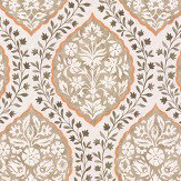 Nina Campbell Marguerite Chocolate / Orange Wallpaper
