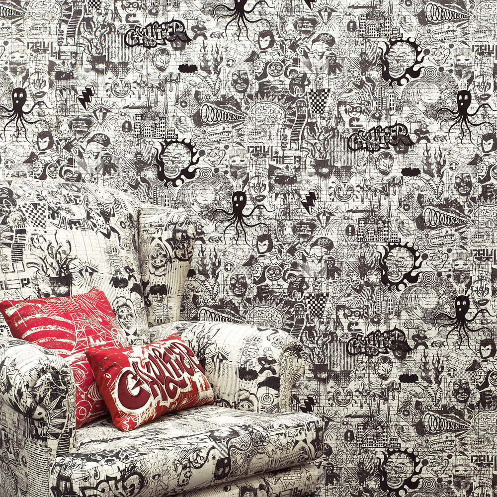 Ernest Wallpaper - Ecru / Noir - by Jean Paul Gaultier