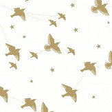 Mini Moderns Star-lings Snow and Gold Wallpaper