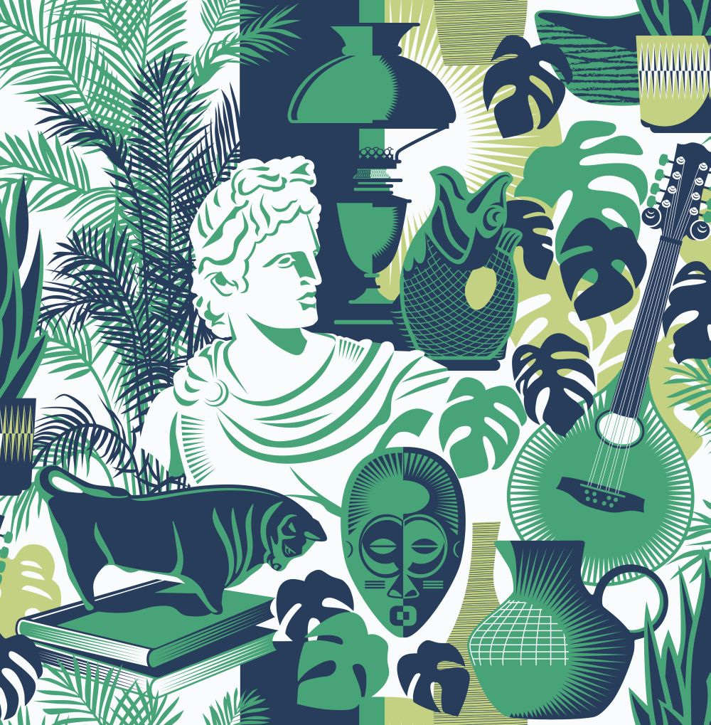 Mini Moderns Art Room Coach Emerald Wallpaper - Product code: AZDPT032CE