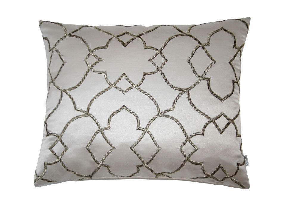 Lotus Embroidery Cushion - Fawn - by Kandola