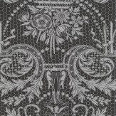 Matthew Williamson Orangery Lace Black and Metallic Silver Wallpaper - Product code: W7142/02