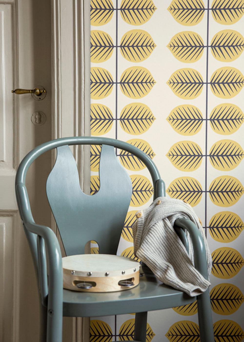 Berså II Wallpaper - Yellow - by Boråstapeter