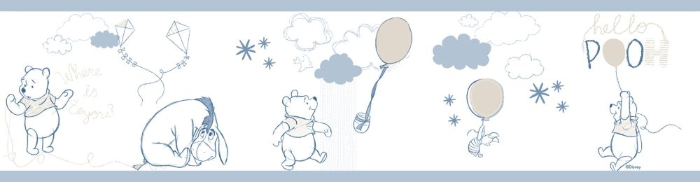 Galerie Winnie the Pooh Border Pale Blue - Product code: WP3521-1