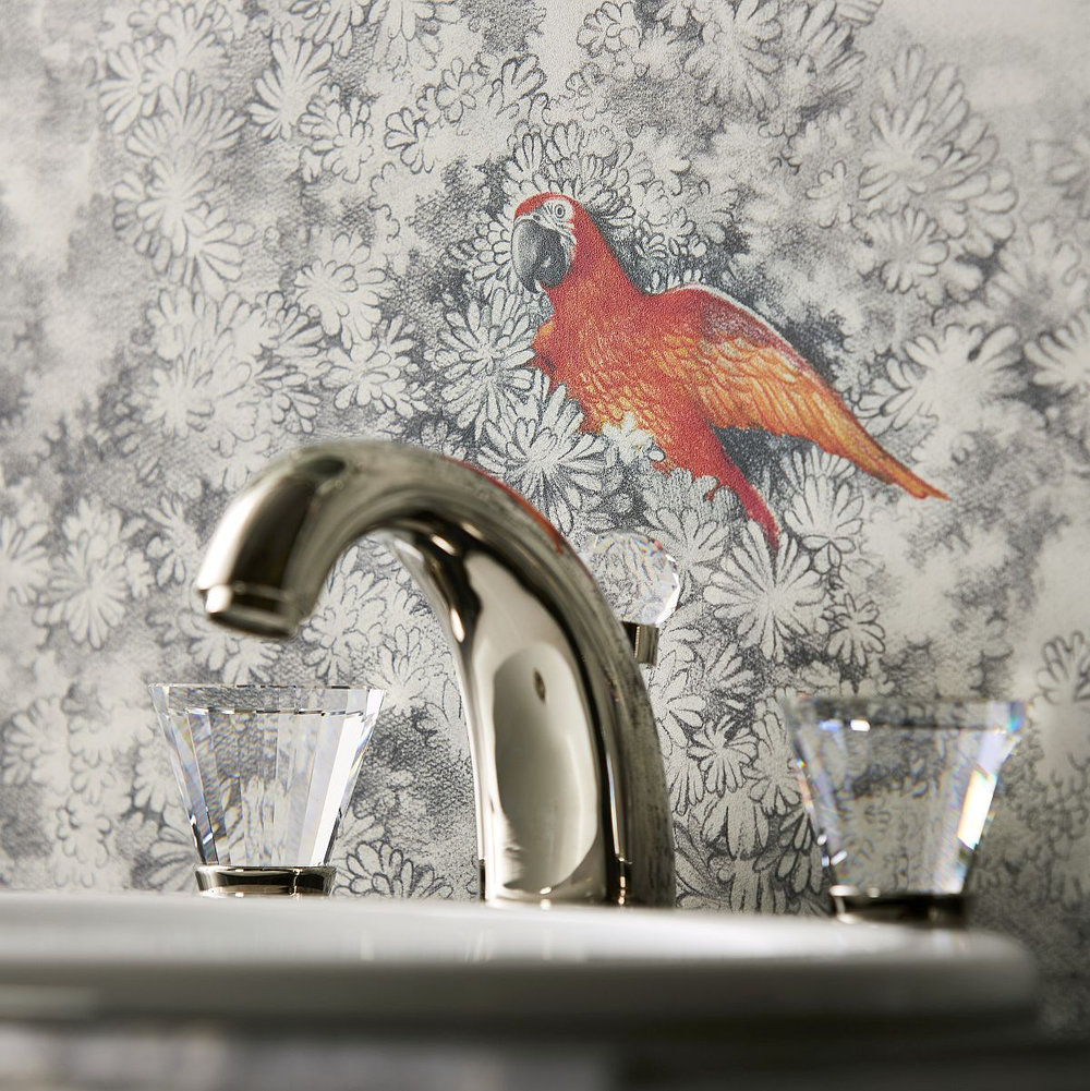 Kandola Birds of Paradise Charcoal Mural - Product code: DW165A+B/01