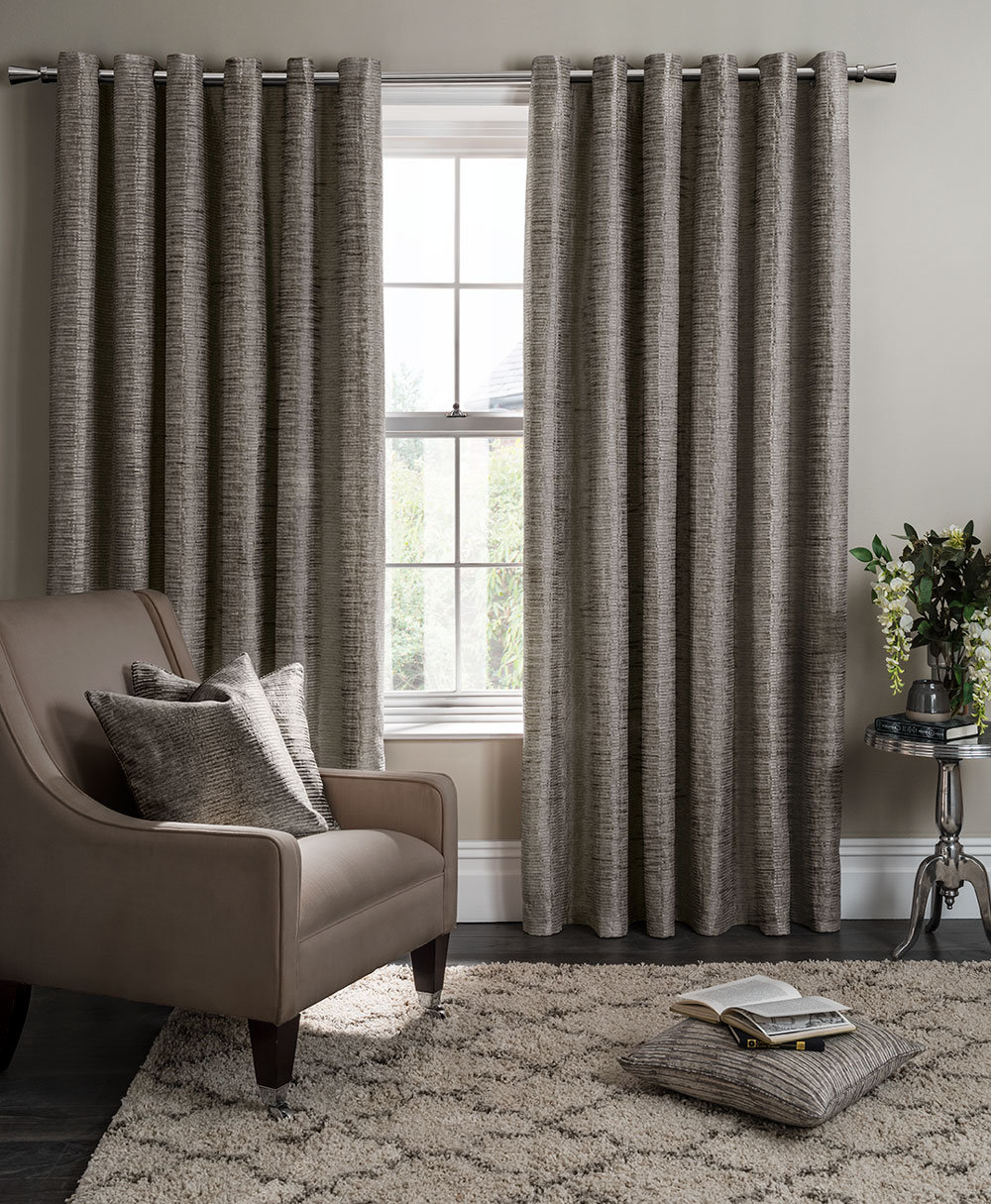 Campello Eyelet Curtains Ready Made Curtains - Charcoal  - by Studio G