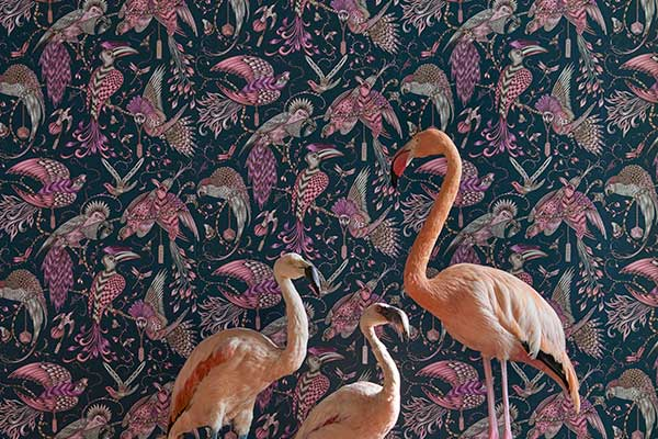 Clarke & Clarke Audubon Pink Wallpaper
