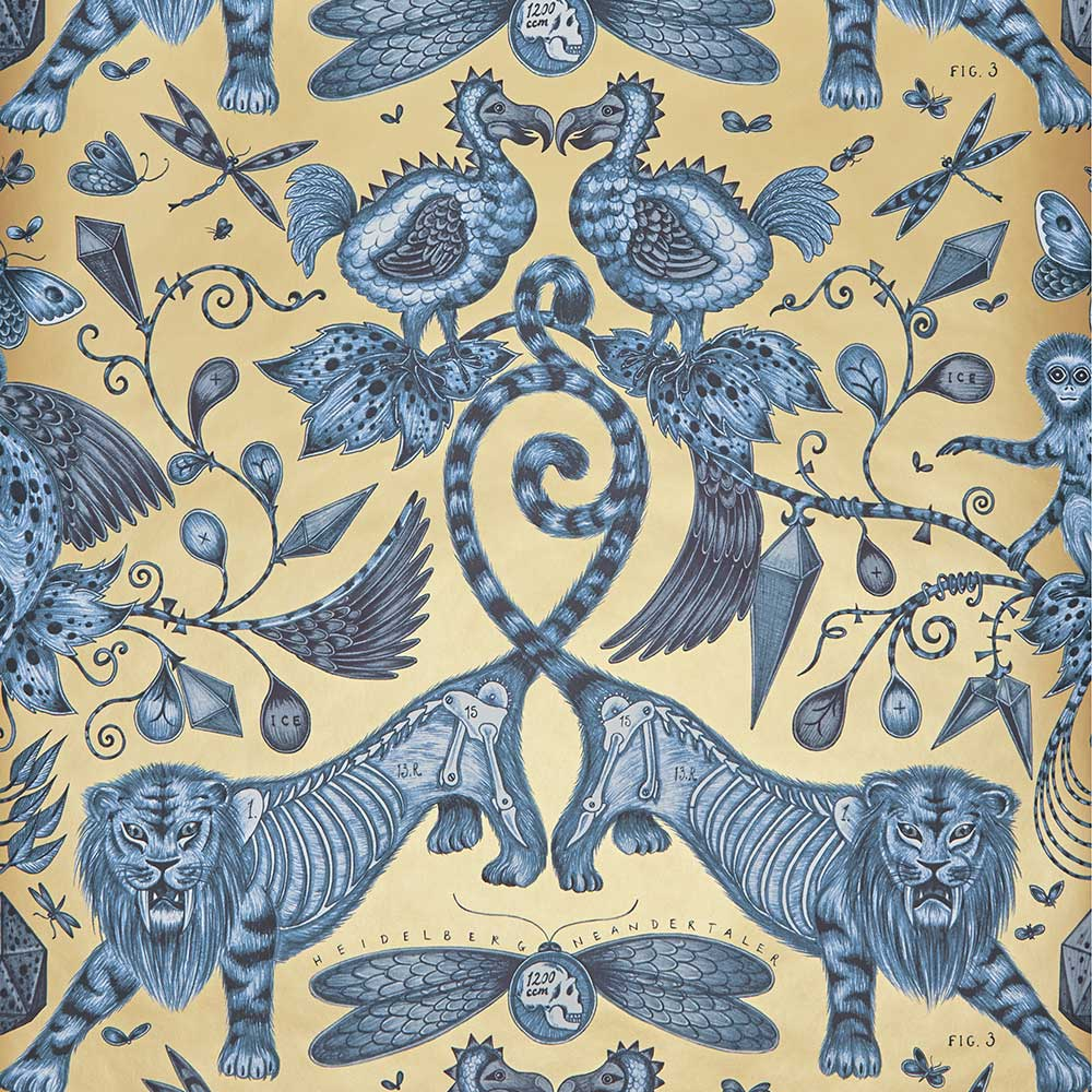 Extinct Wallpaper - Blue - by Emma J Shipley