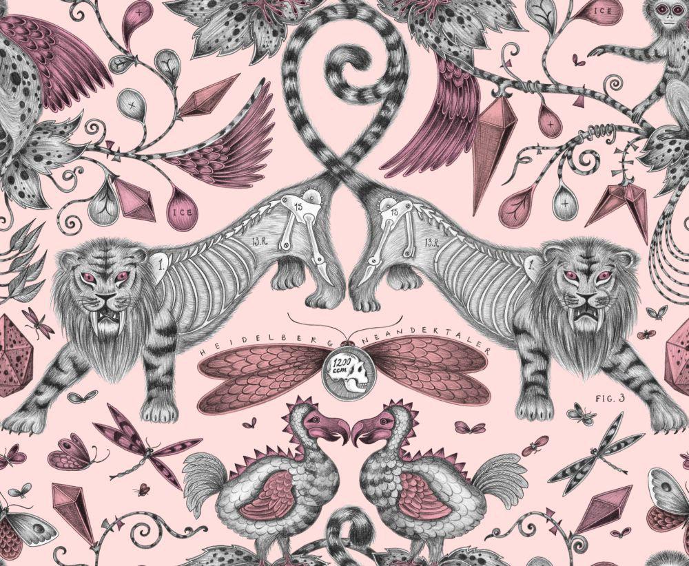 Clarke & Clarke Extinct Pink Wallpaper main image