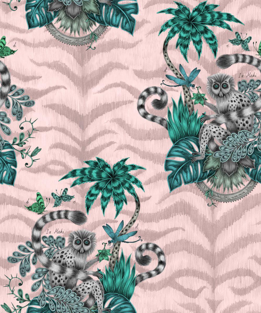 Clarke & Clarke Lemur Pink Wallpaper - Product code: W0103/04