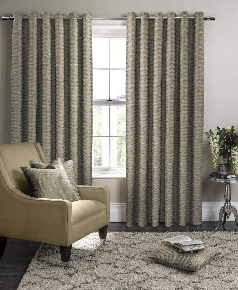 Studio G Campello Eyelet Curtains Olive Ready Made Curtains - Product code: M1101/02/46X5