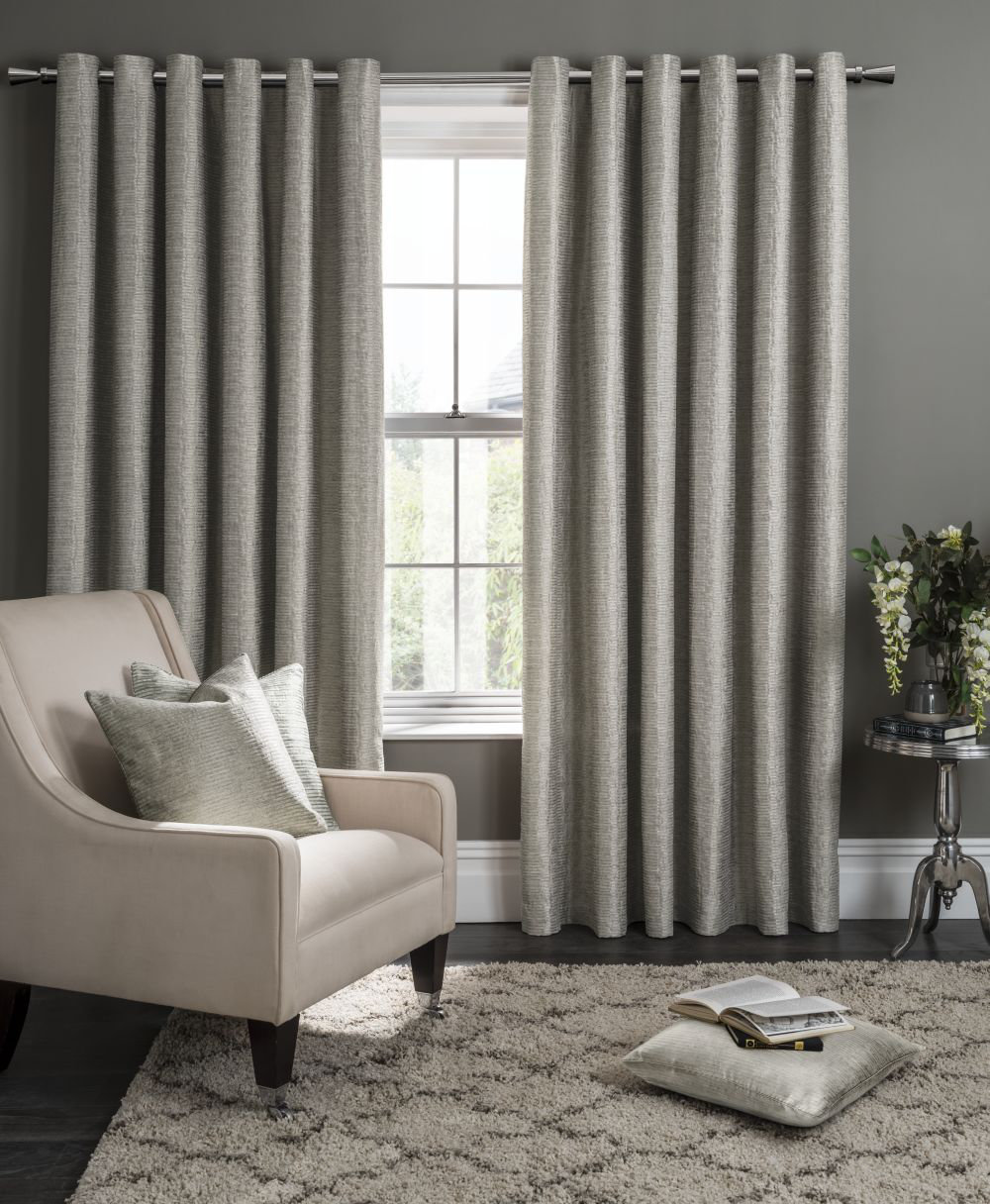 Studio G Campello Eyelet Curtains  Putty Ready Made Curtains - Product code: M1101/03/46X5