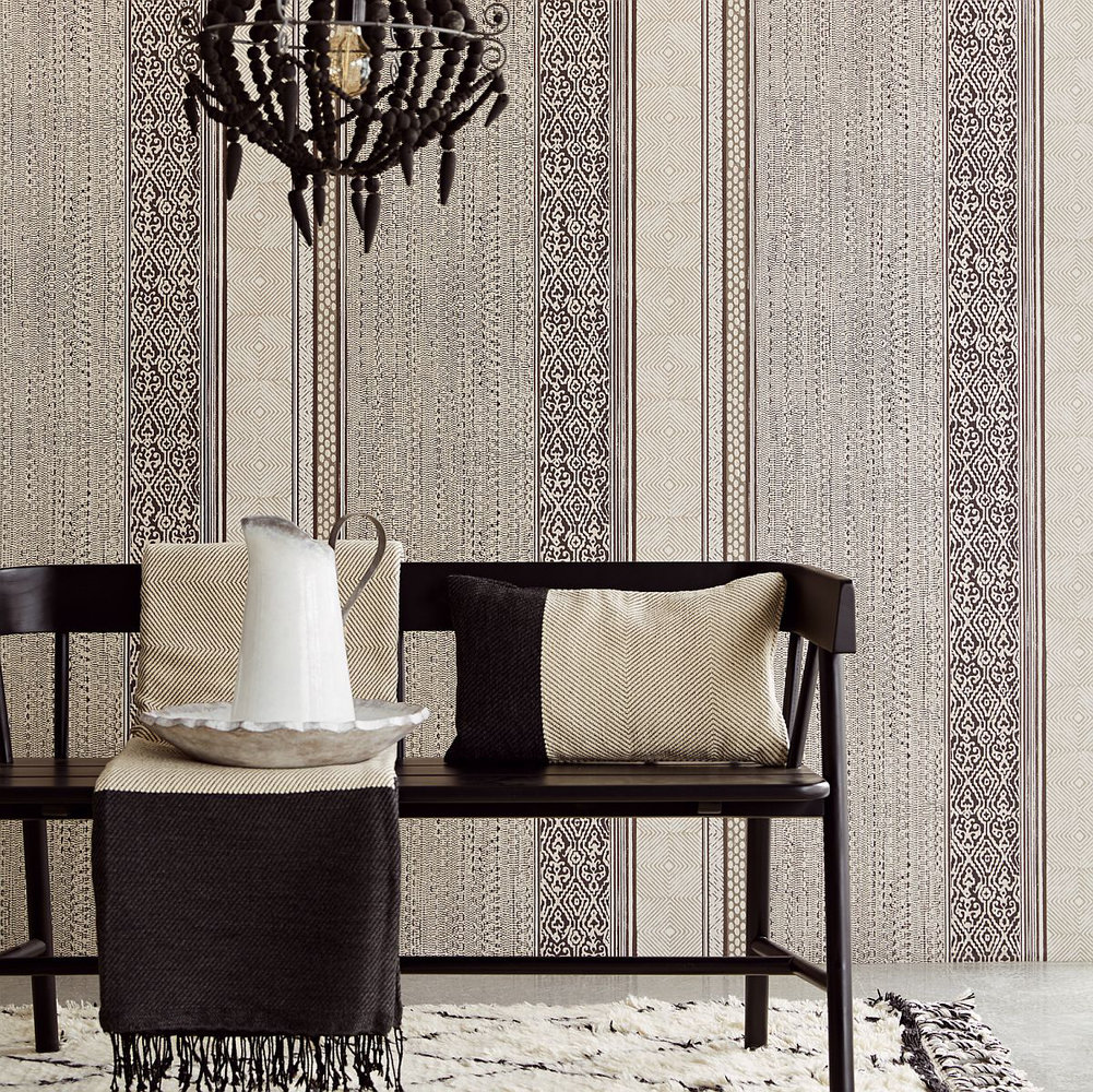 Tapestry Stripe Wallpaper - Black / Cream - by Eijffinger