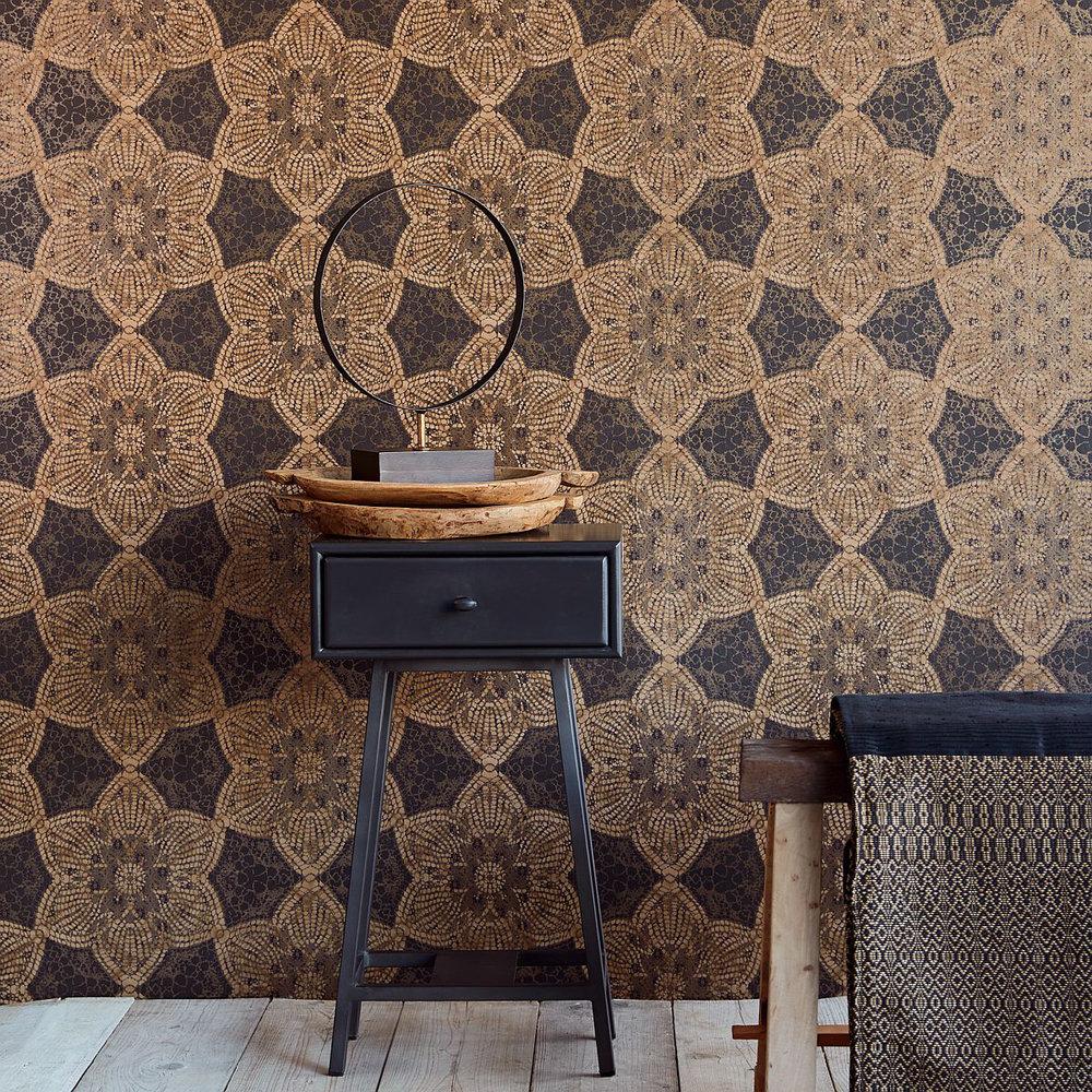 Mosaic Star Wallpaper - Golden Brown - by Eijffinger