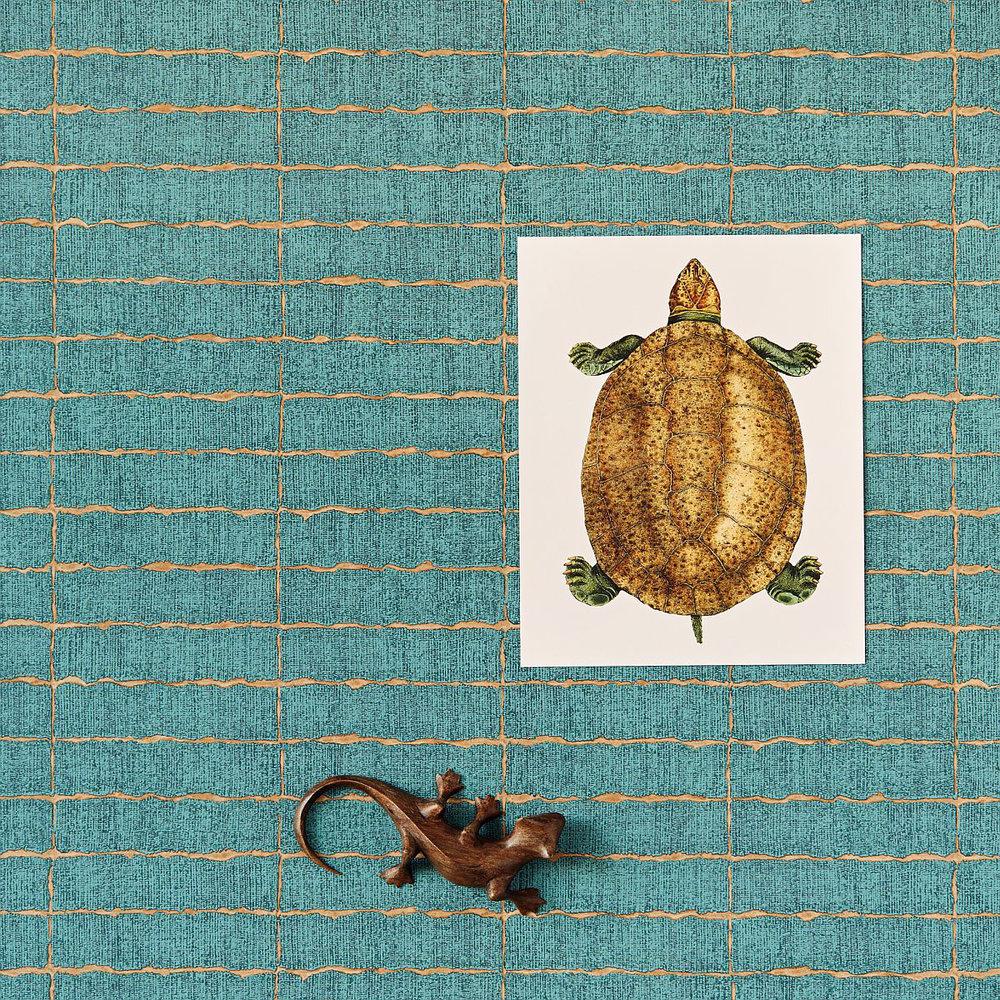 Eijffinger Distressed Tile Teal Wallpaper - Product code: 376071
