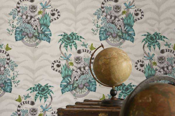 Clarke & Clarke Jungle Palms Pink Wallpaper