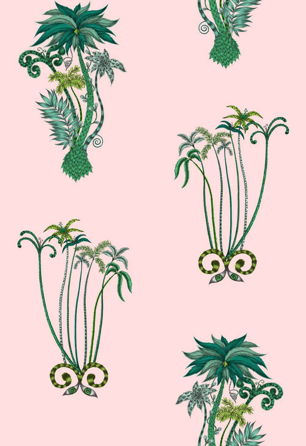Clarke & Clarke Jungle Palms Pink Wallpaper - Product code: W0101/04