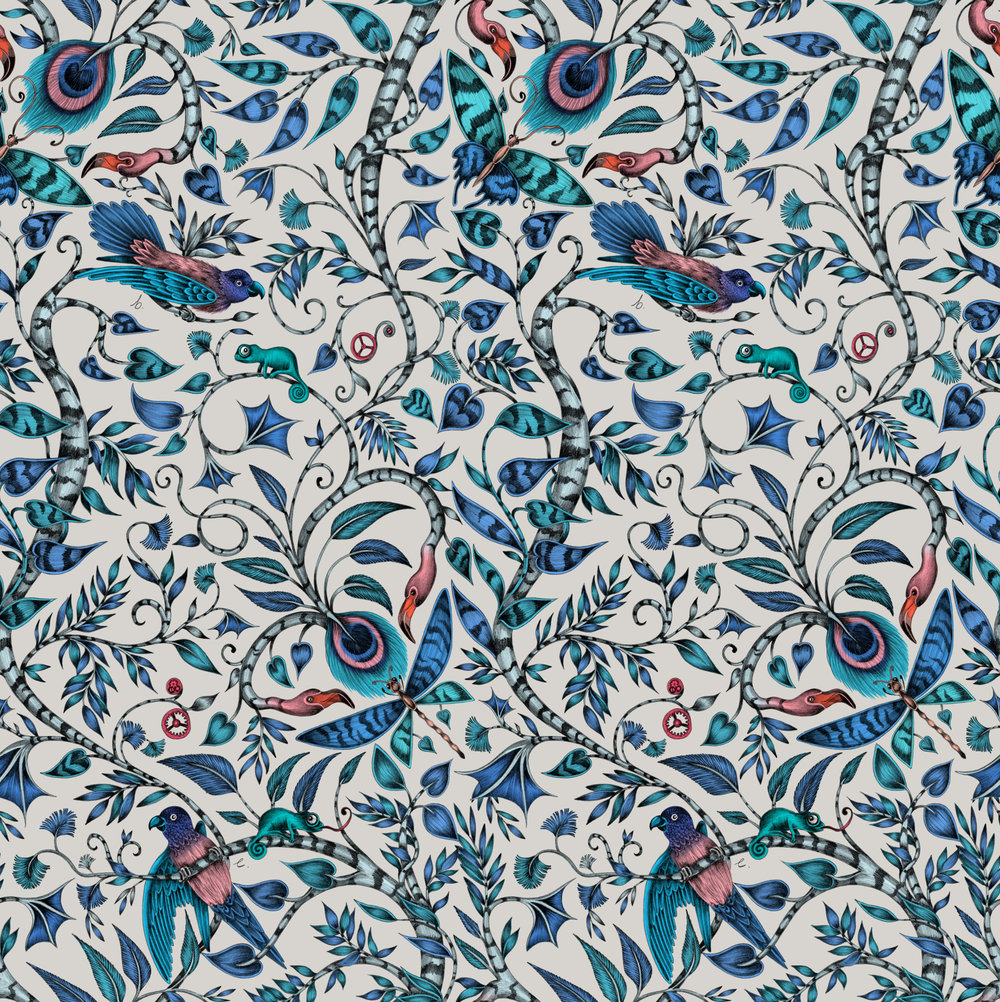 Clarke & Clarke Rousseau Blue Wallpaper - Product code: W0104/01