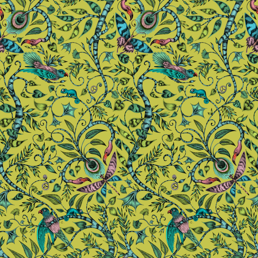 Clarke & Clarke Rousseau Lime Wallpaper - Product code: W0104/04