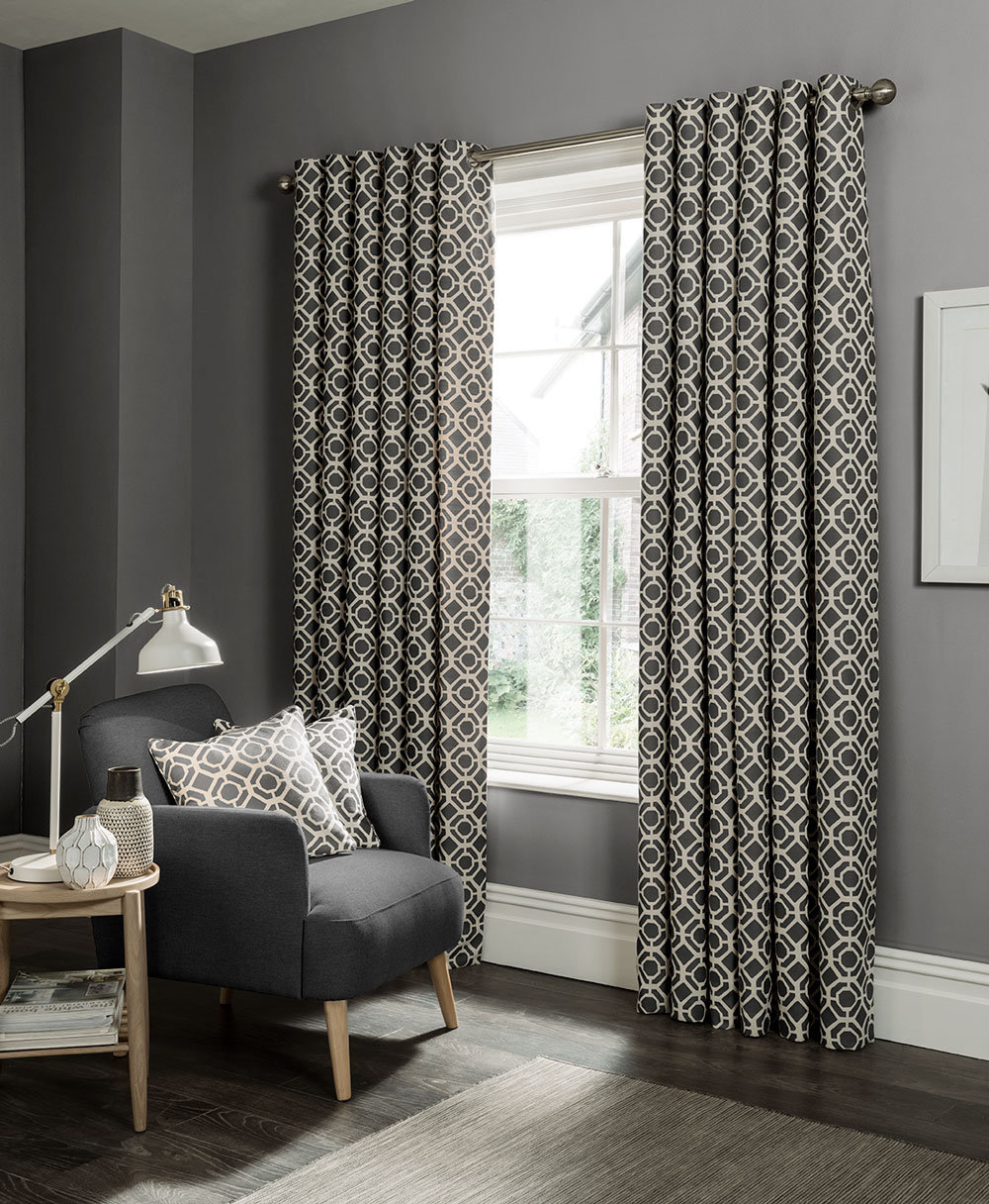 Castello Eyelet Curtains Ready Made Curtains - Charcoal - by Studio G