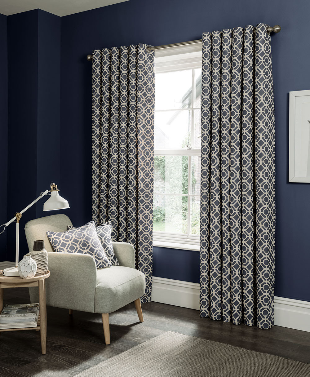 Studio G Castello Eyelet Curtains Indigo Ready Made Curtains - Product code: M1103/02/46X5