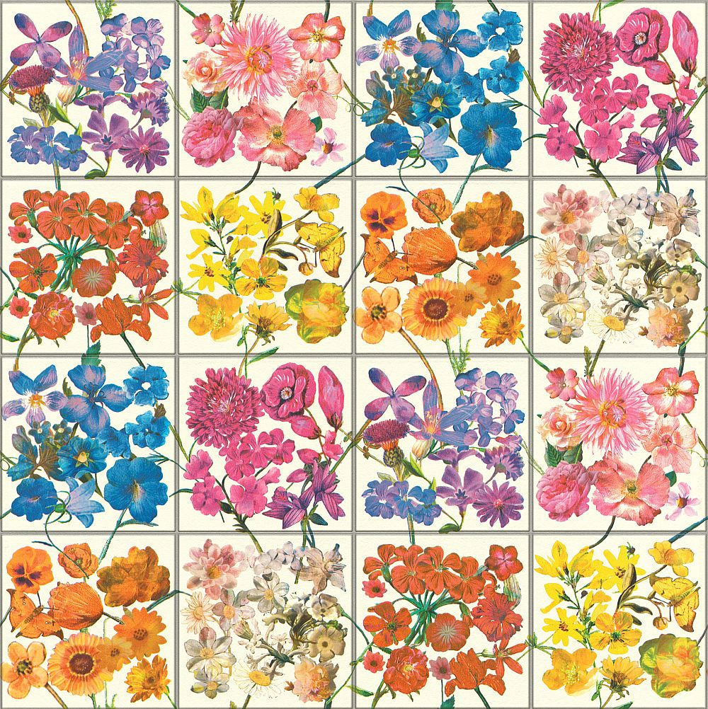 Albany Floral Tile Multi / White Wallpaper - Product code: 303407