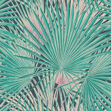 Albany Palm Leaves Emerald Wallpaper