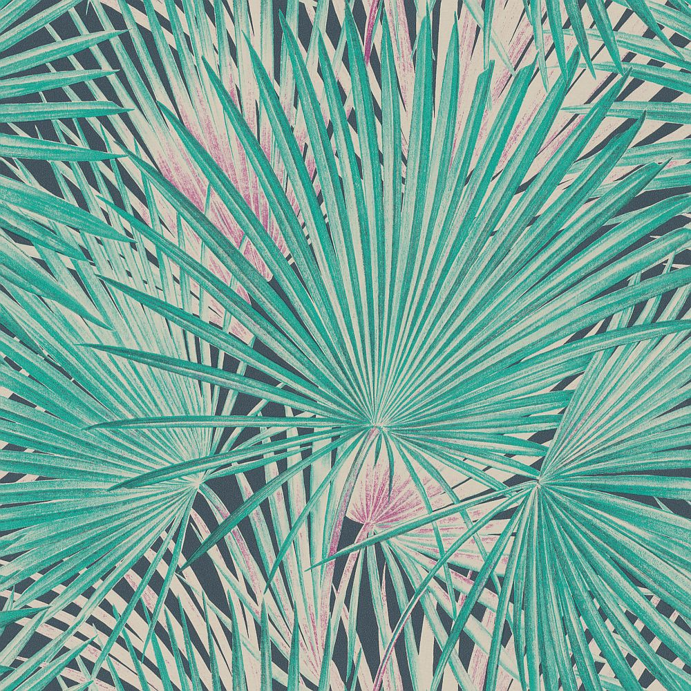 Albany Palm Leaves Emerald Wallpaper Main Image