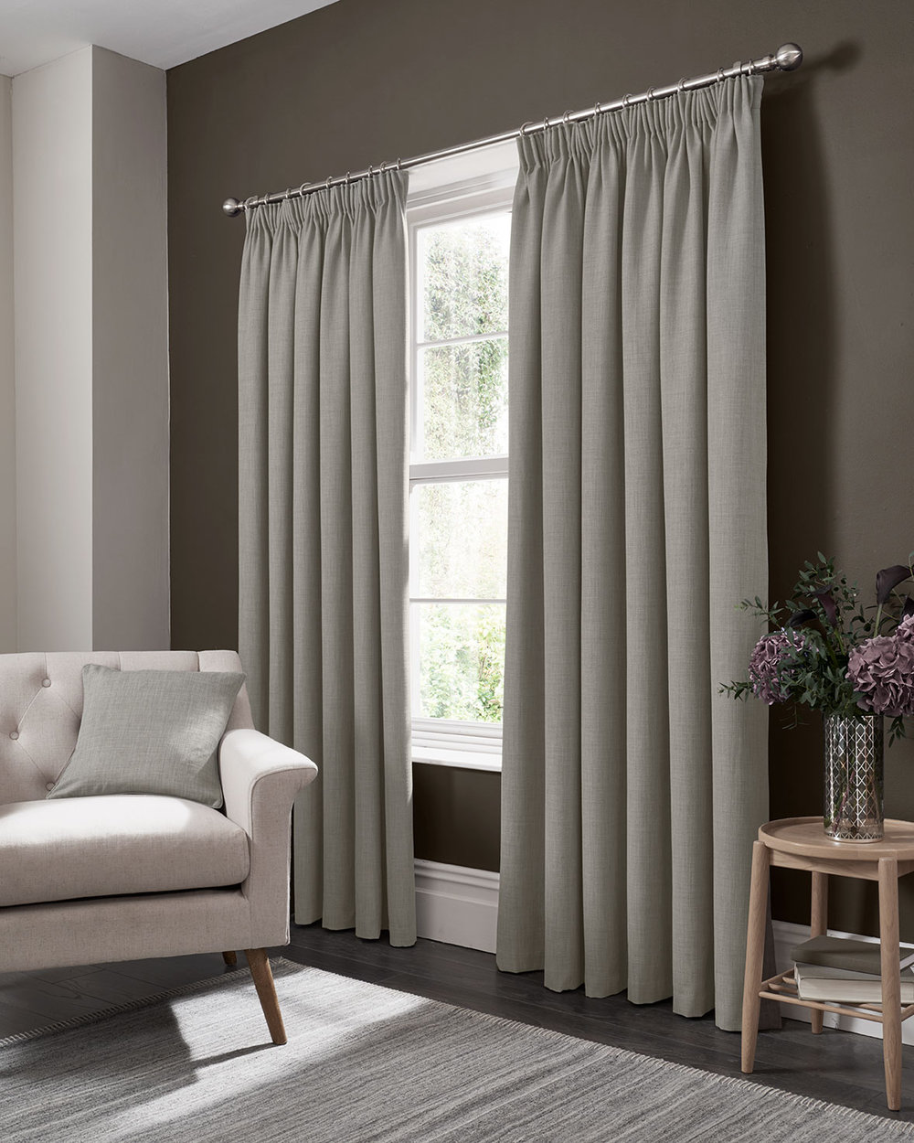 Studio G Elba Pencil Pleat Curtains Feather Ready Made Curtains - Product code: M1105/01/46X9