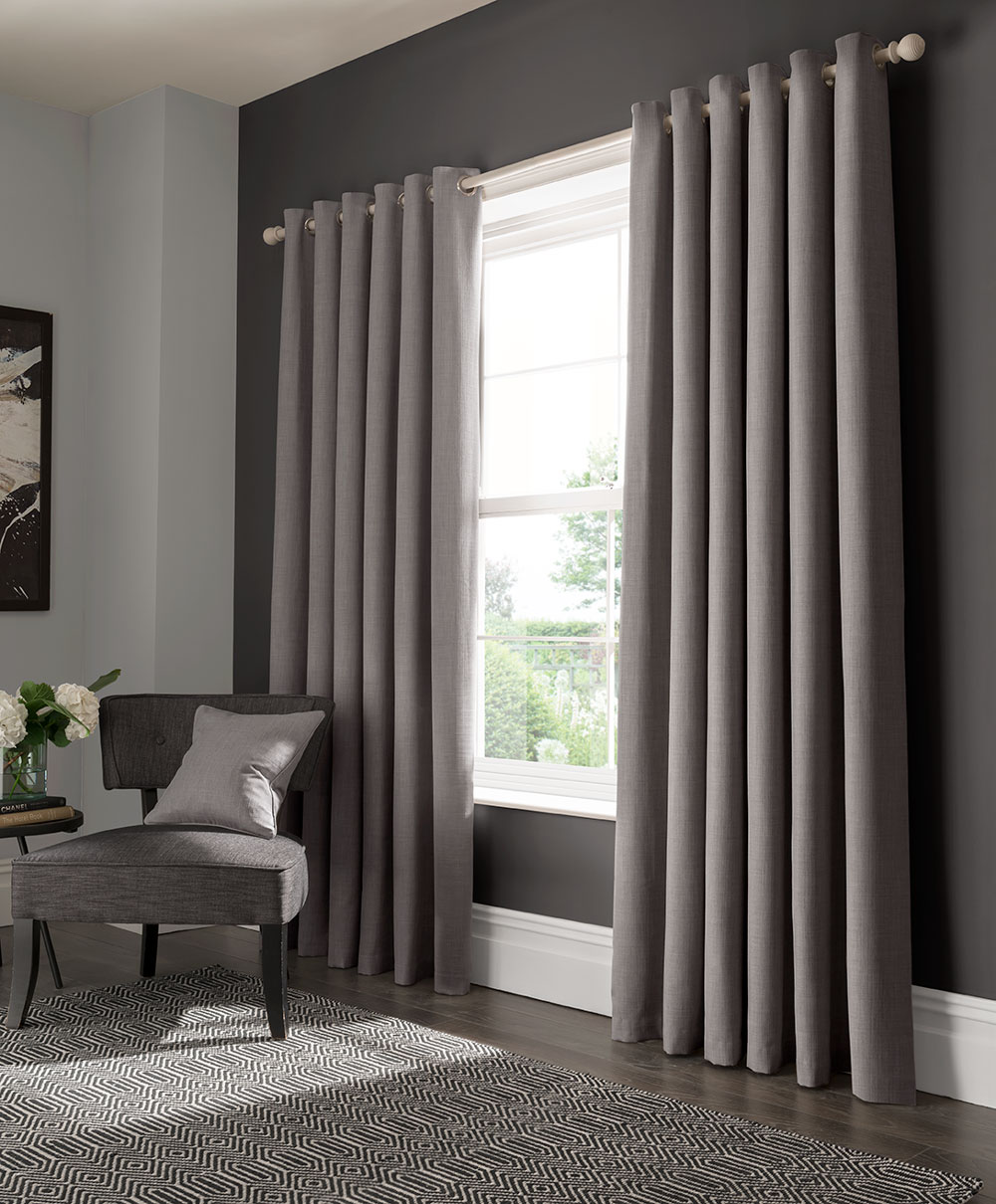 Elba Eyelet Curtains Ready Made Curtains - Grey - by Studio G