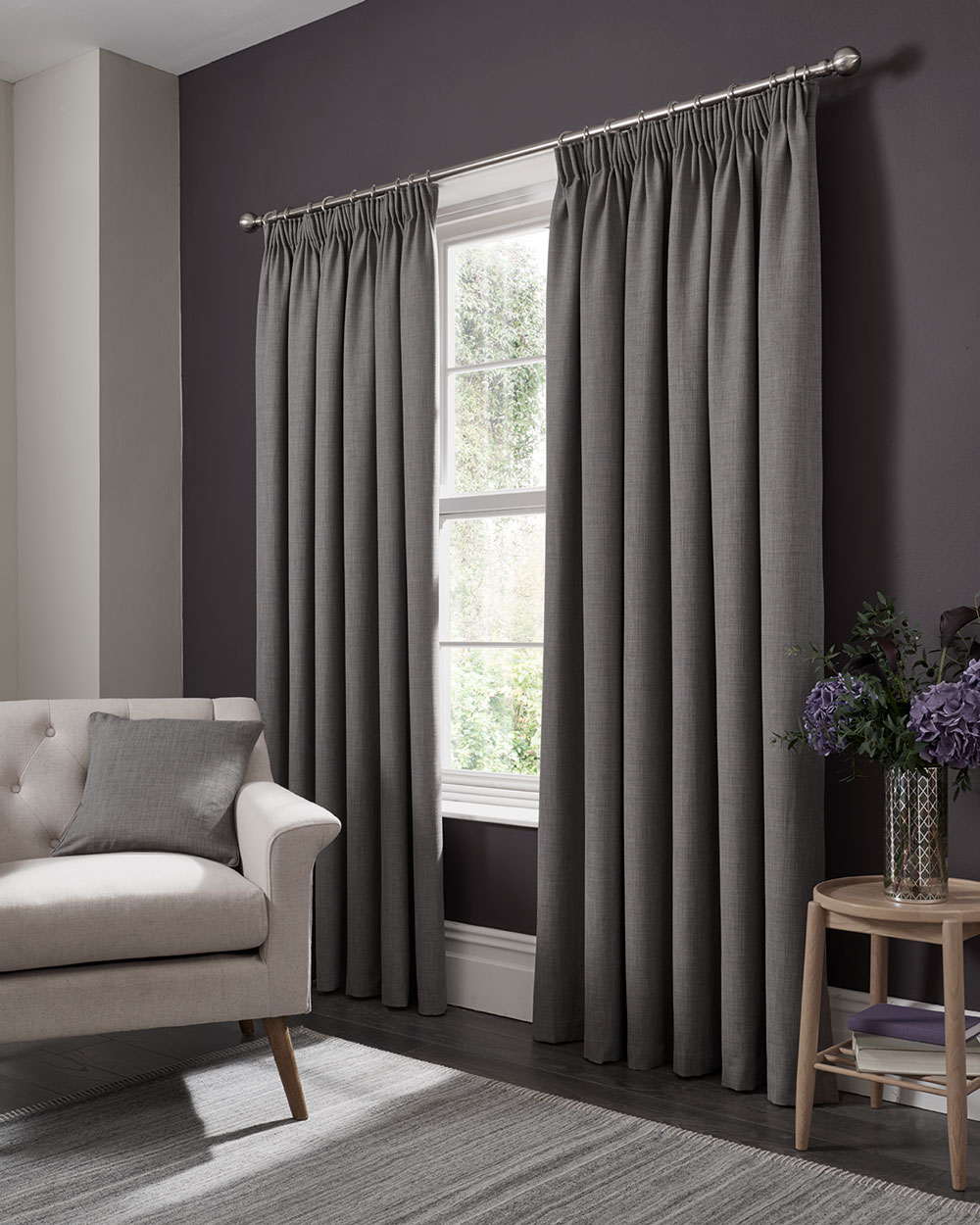 Studio G Elba Pencil Pleat Curtains  Grey  Ready Made Curtains - Product code: M1105/02/46X5