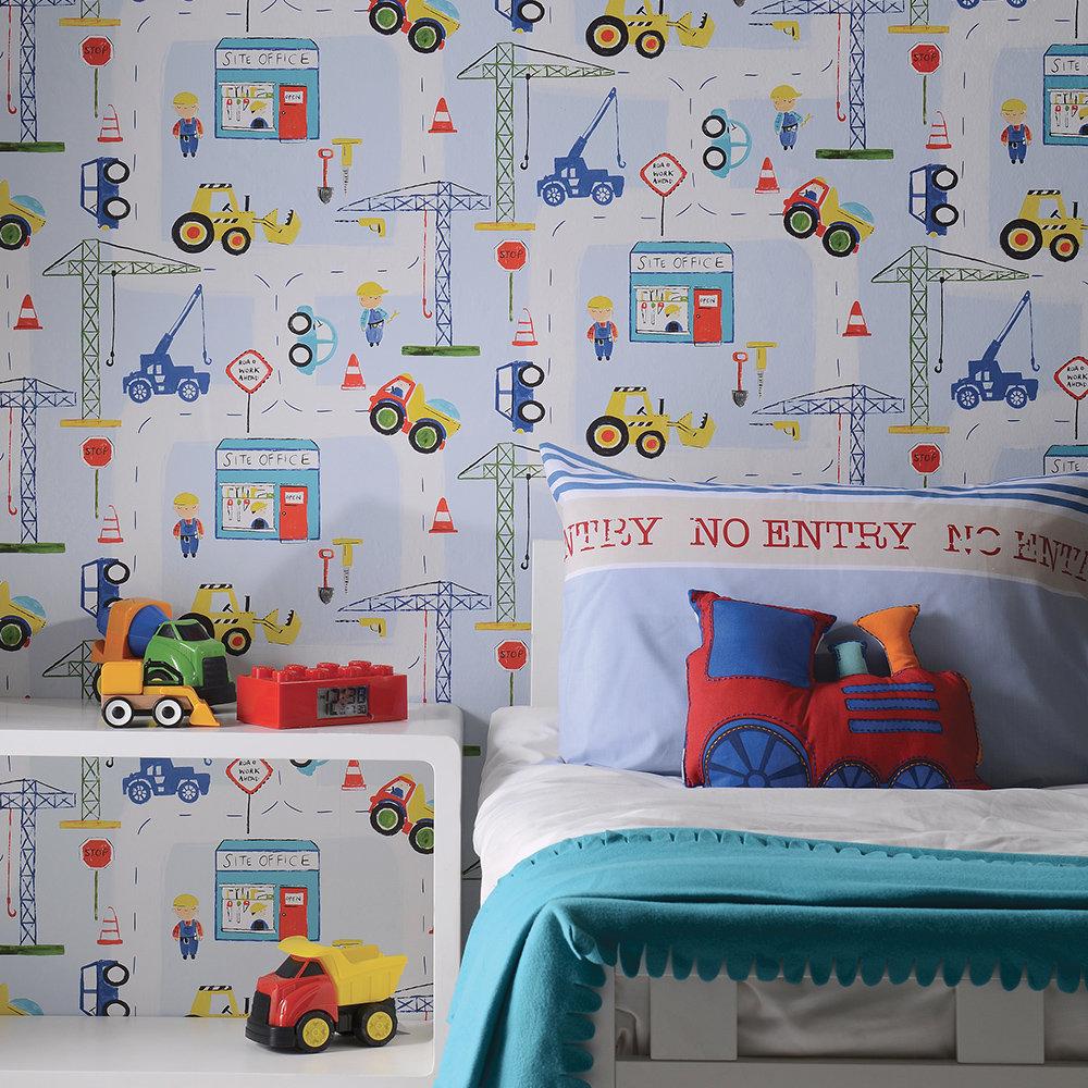Roadworks Ahead Wallpaper - Blue - by Albany