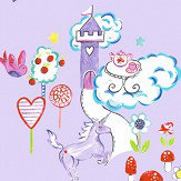 Albany Unicorns and Castles Lilac Wallpaper