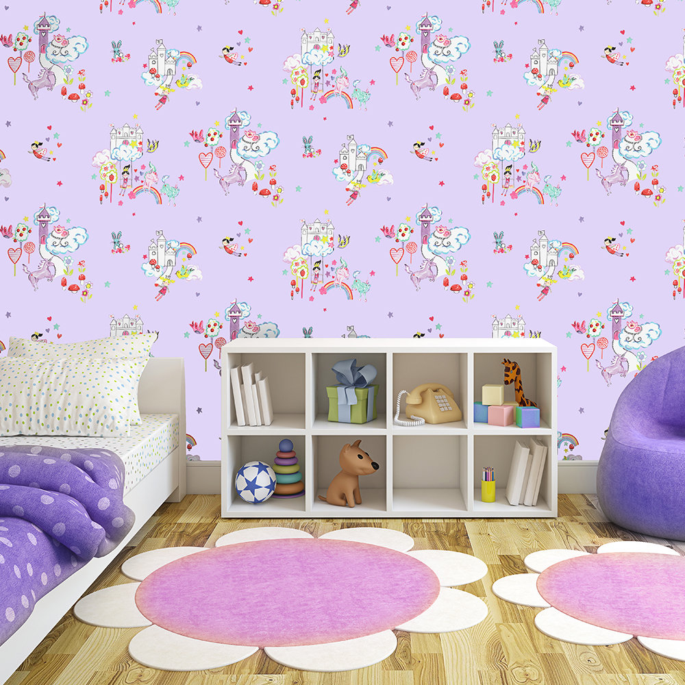 Albany Unicorns and Castles Lilac Wallpaper - Product code: 12219