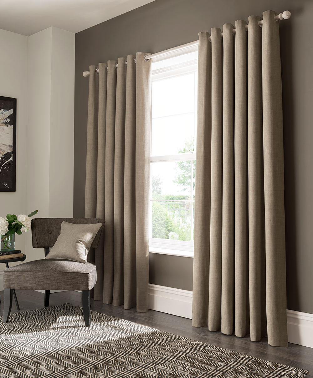 Elba Eyelet Curtains Ready Made Curtains - Linen - by Studio G