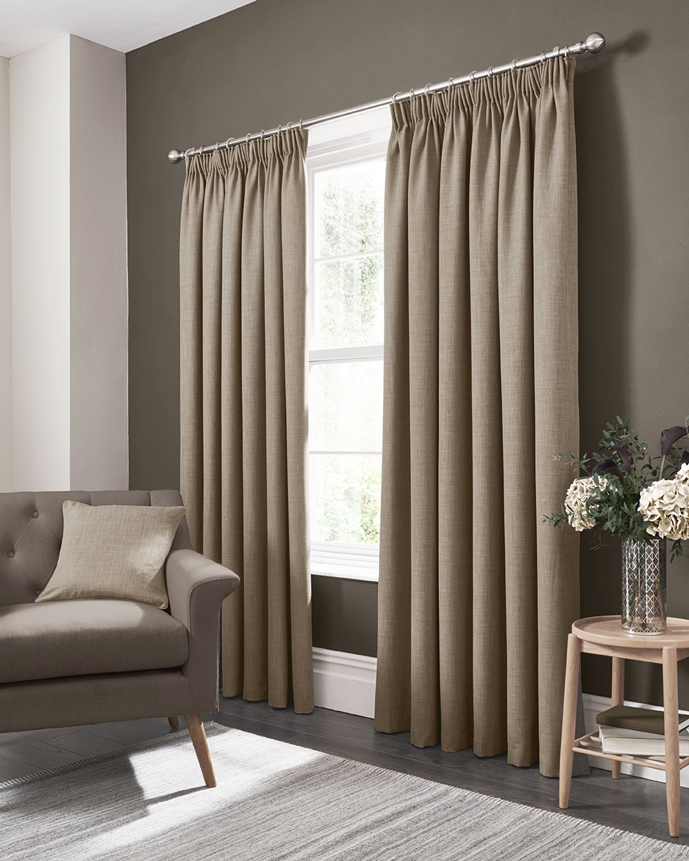 Elba Pencil Pleat Curtains  Ready Made Curtains - Linen - by Studio G