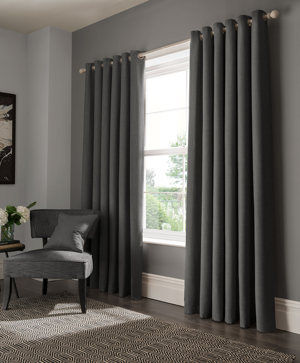 Elba Eyelet Curtains Ready Made Curtains - Steel - by Studio G