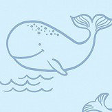 Albany Whale of a Time Blue Wallpaper