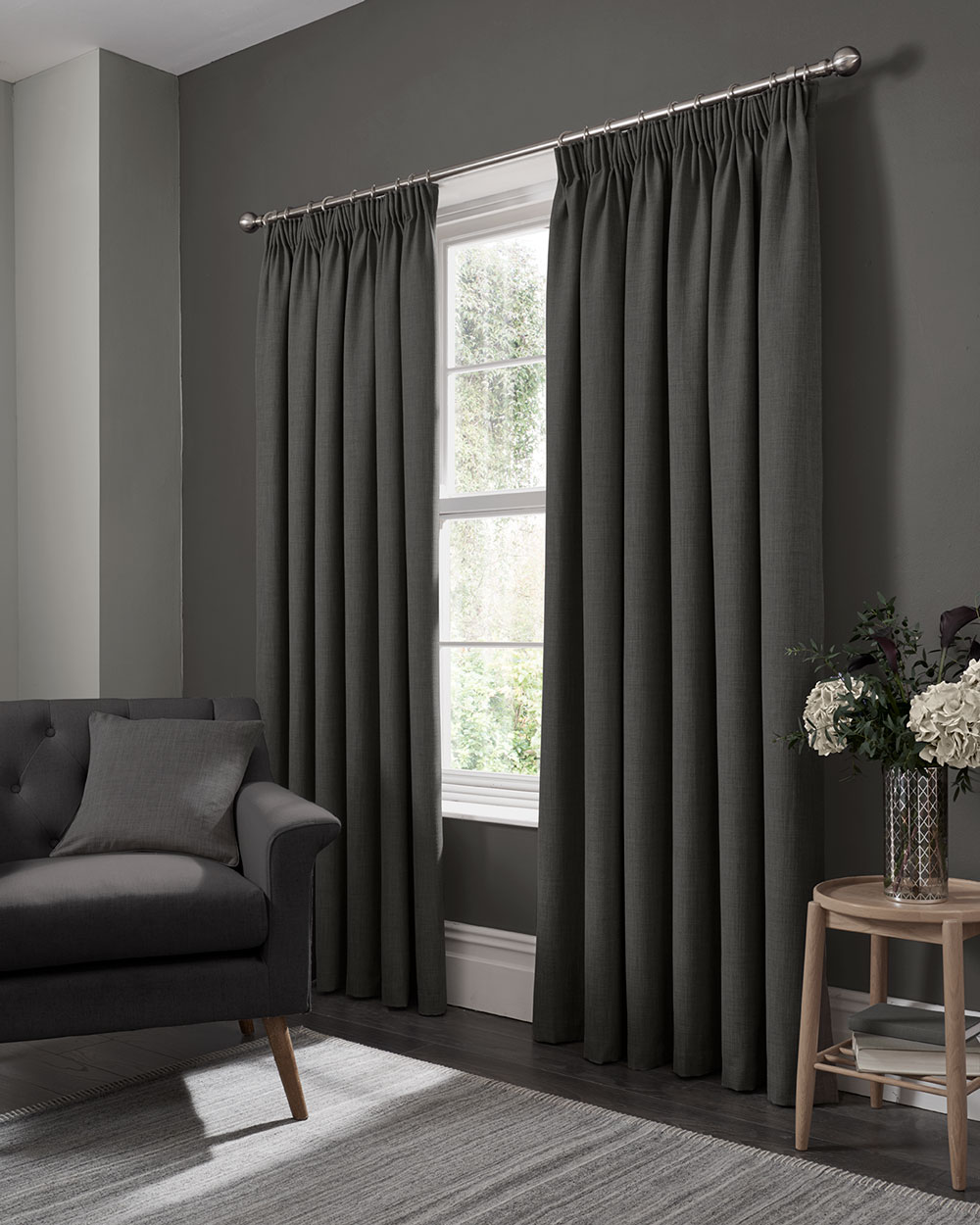 Elba Pencil Pleat Curtains Ready Made Curtains - Steel - by Studio G