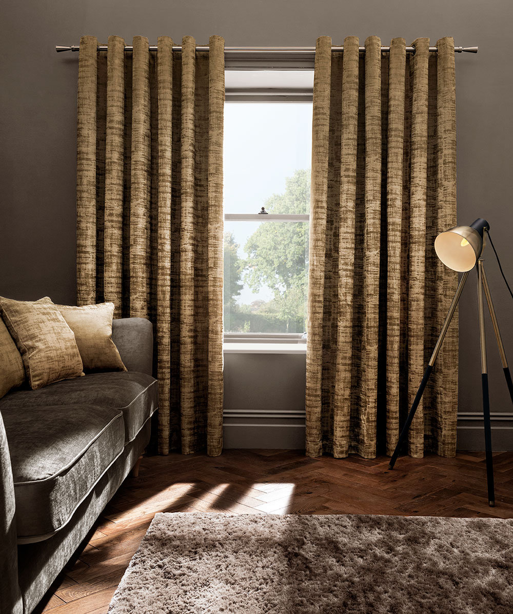Naples Eyelet Curtains Ready Made Curtains - Gold - by Studio G