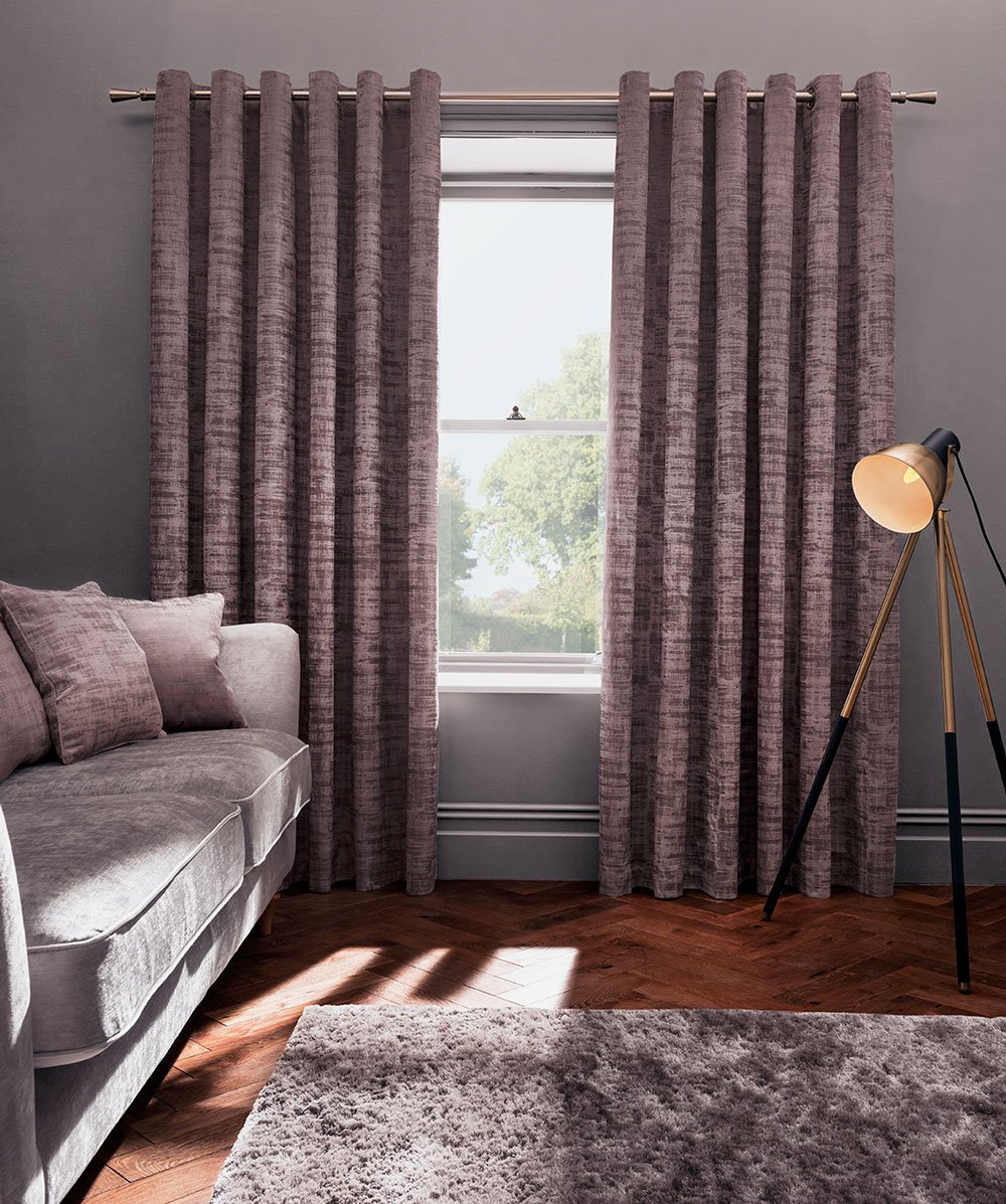 Naples Eyelet Curtains Ready Made Curtains - Heather - by Studio G