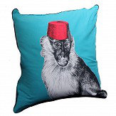 A Shade Wilder Monkey Madness Teal Cushion