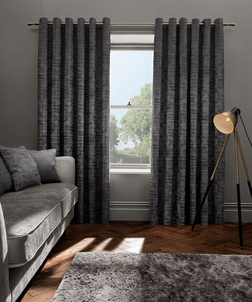 Studio G Naples Eyelet Curtains Smoke Ready Made Curtains - Product code: M1100/03/46X5