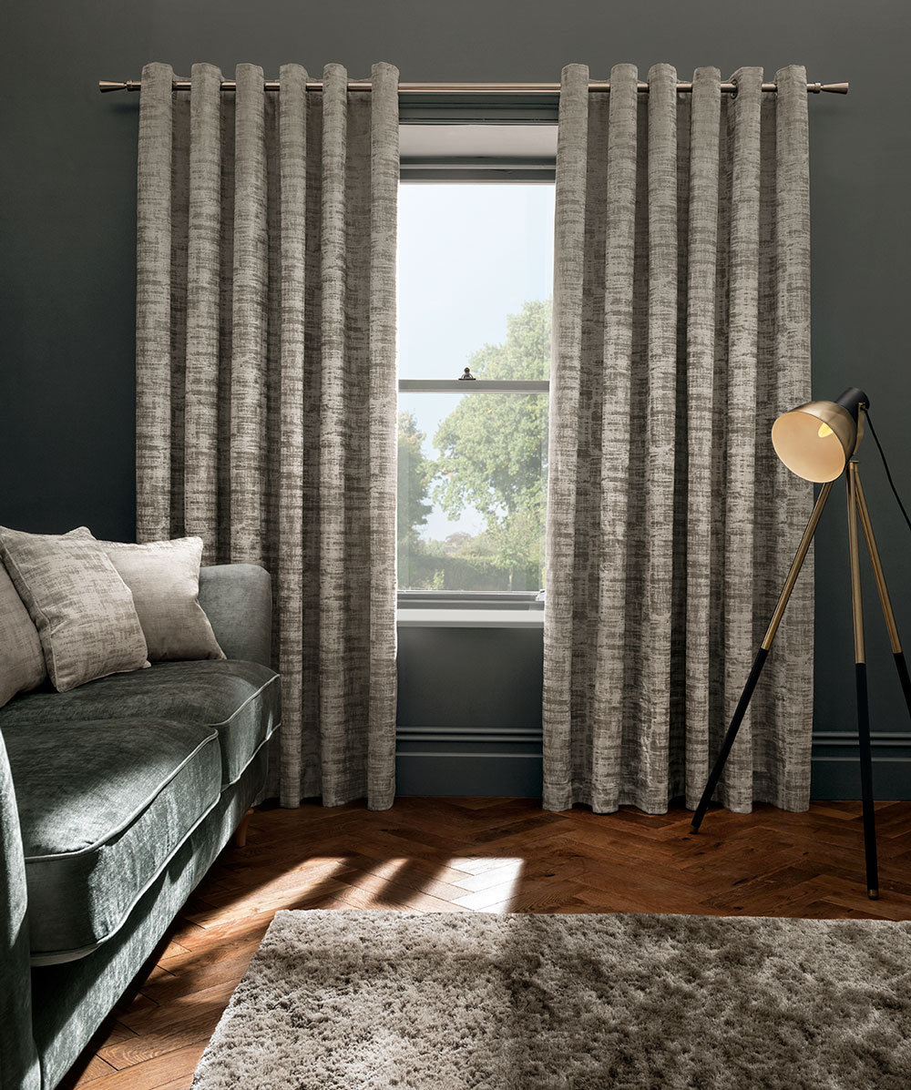 Studio G Naples Eyelet Curtains Stone Ready Made Curtains - Product code: M1100/04/46X5