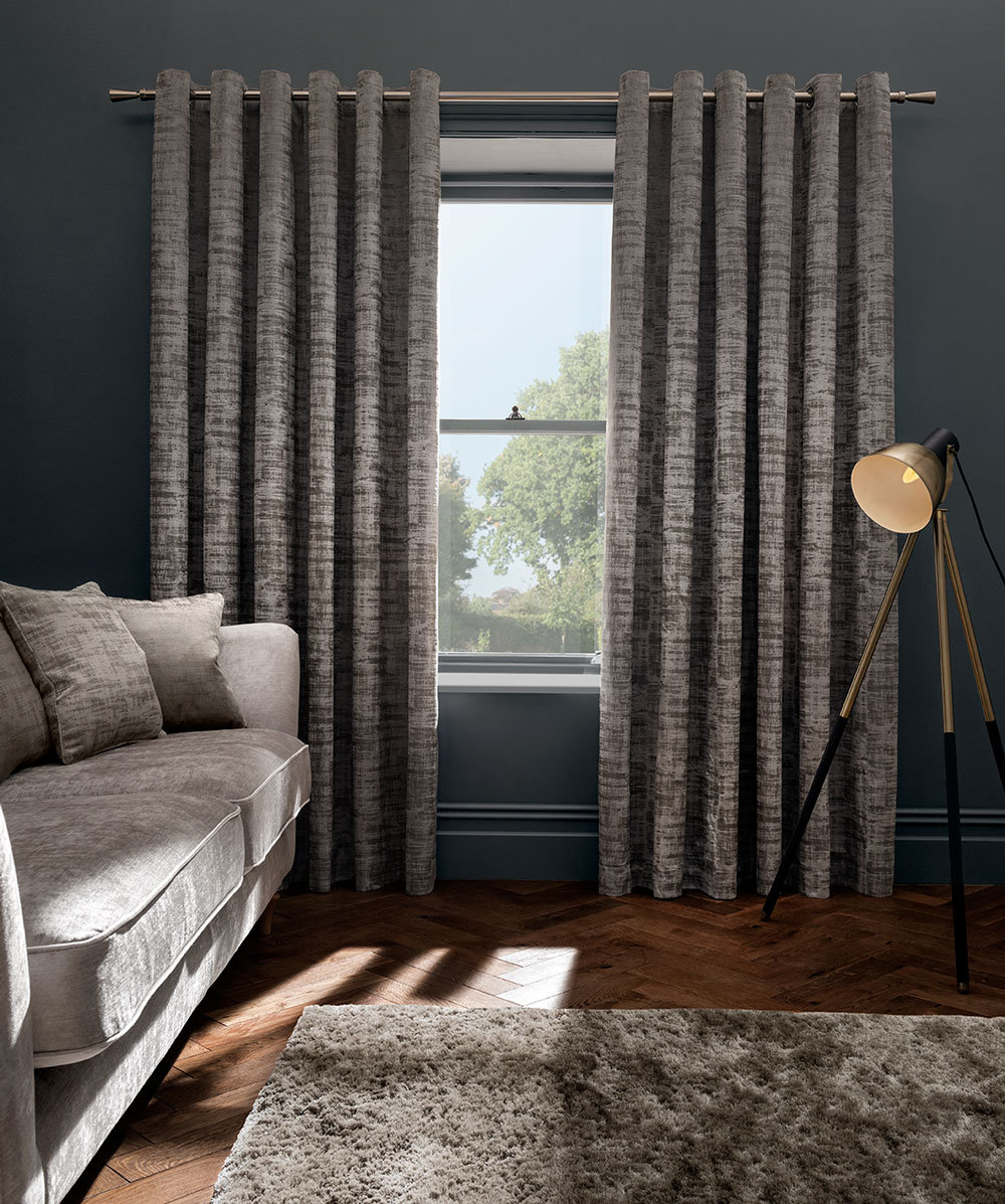 Naples Eyelet Curtains Ready Made Curtains - Taupe - by Studio G
