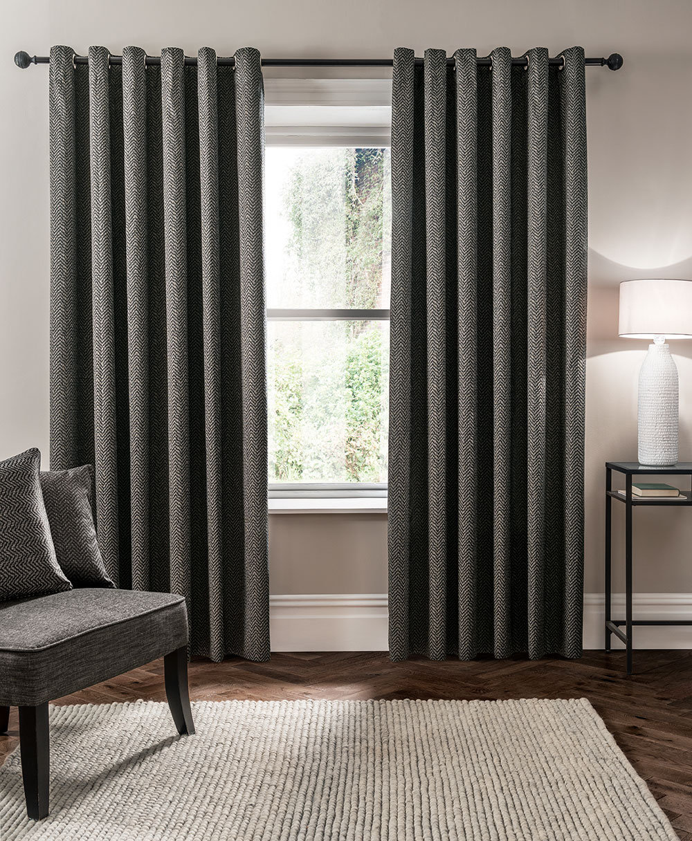 Studio G Verona Eyelet Curtains Charcoal Ready Made Curtains - Product code: M1102/01/46X5
