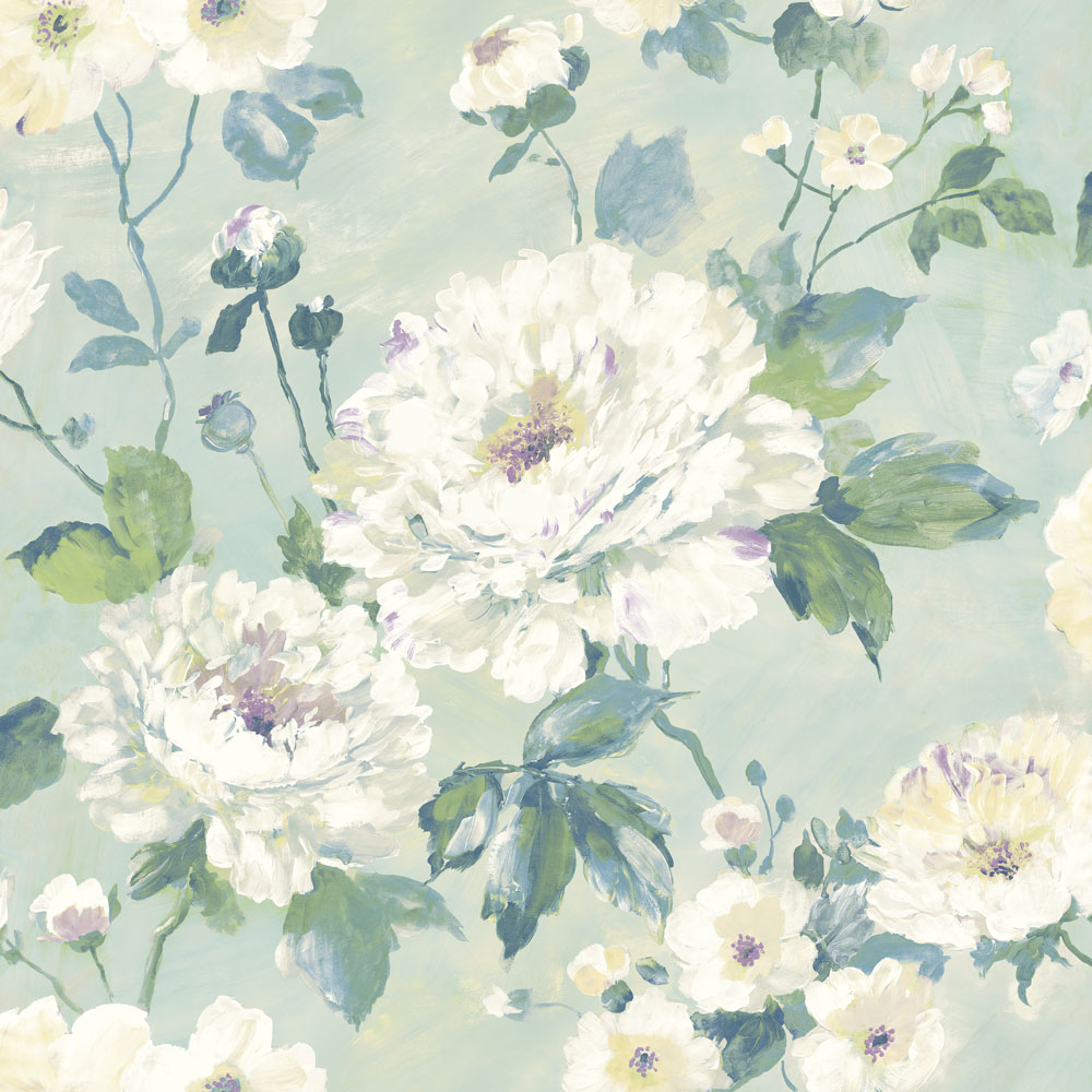 Albany Fiore Bloom Duck Egg Wallpaper main image