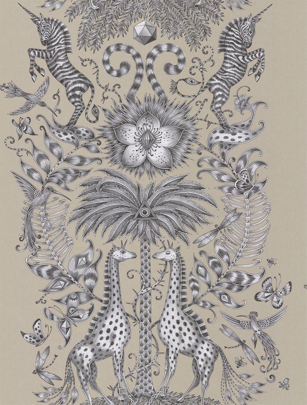 Clarke & Clarke Kruger Monochrome Wallpaper main image