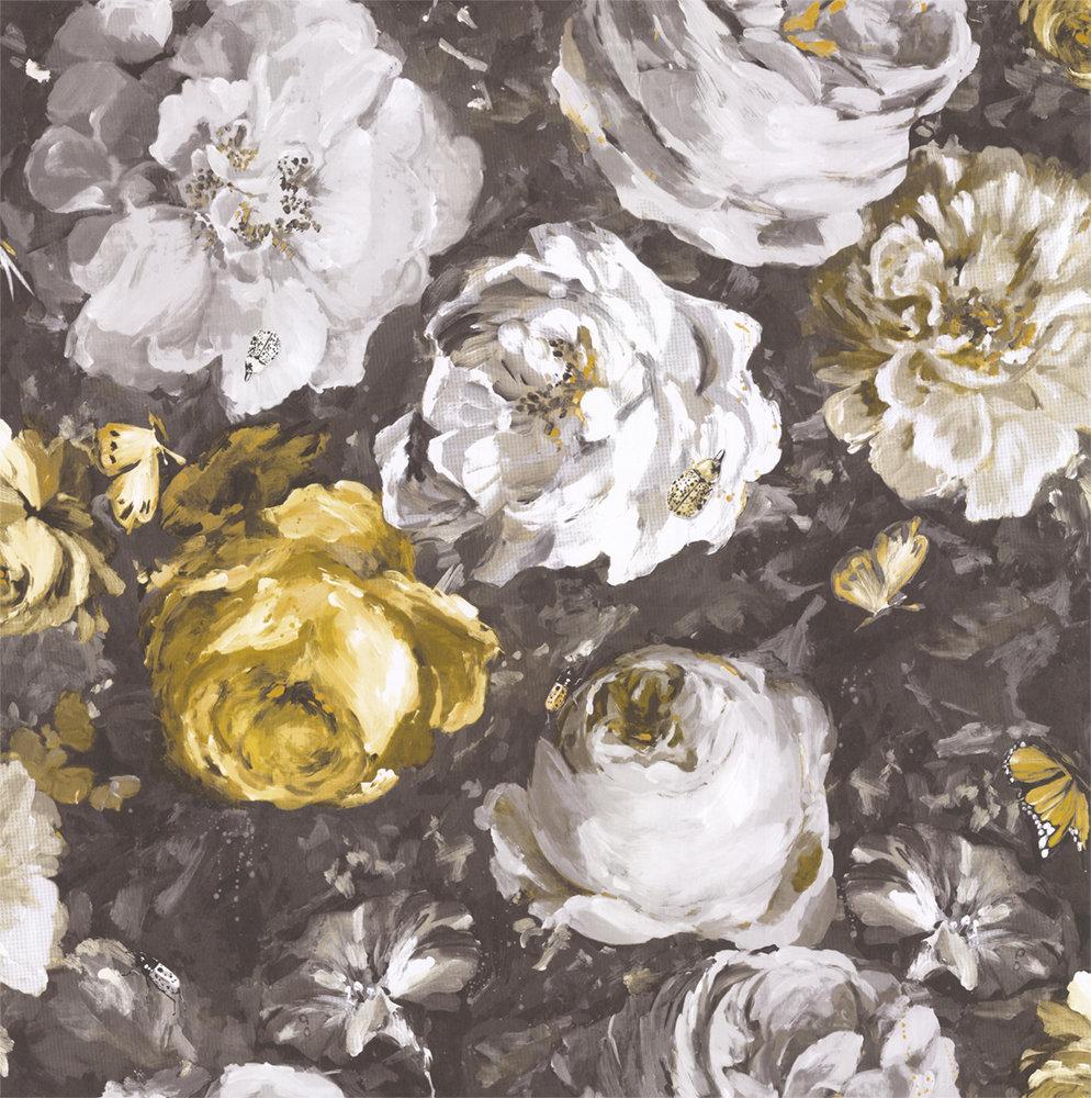 Clarke & Clarke Floretta Antique / Charcoal Wallpaper main image
