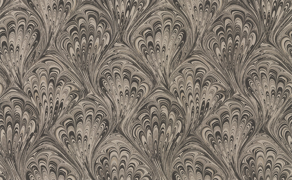 Clarke & Clarke Pavone Charcoal / Gold Wallpaper - Product code: W0095/02